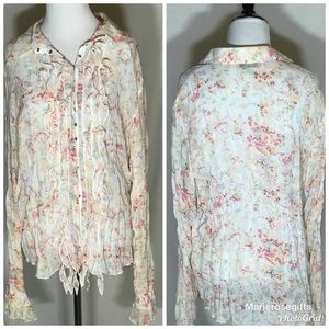 Belissimo floral crinkle Long Sleeve Top Size XL